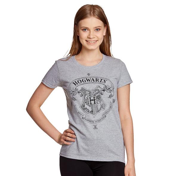 Harry Potter - Hogwarts Wappen T-Shirt Damen grau