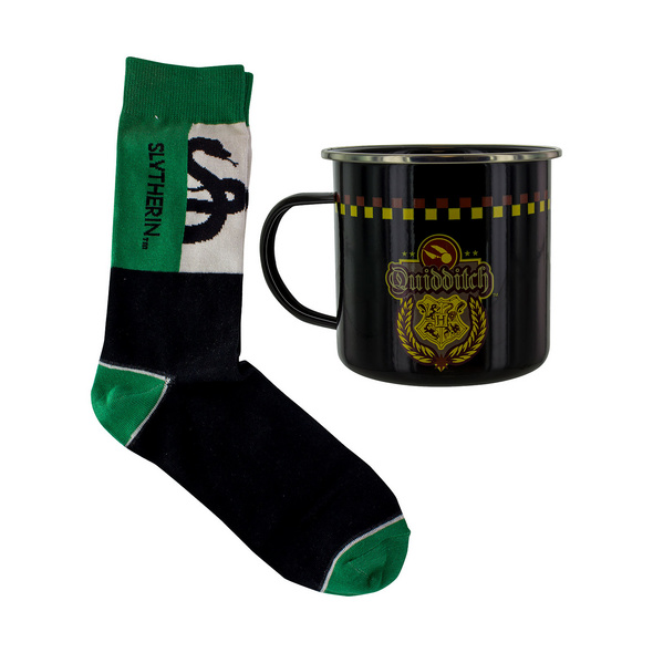Harry Potter - Slytherin Quidditch Socken und Emaille Tasse