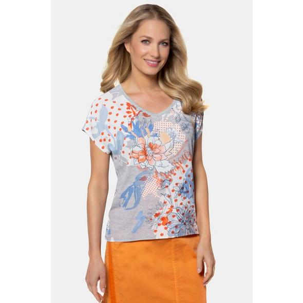 Gina Laura T-Shirt, geblümter Krepp, Oversized, Jerseyrücken
