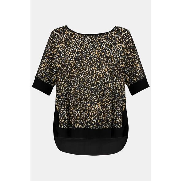 Gina Laura T-Shirt, Animalmuster, Oversized, schwarze Abschlüsse