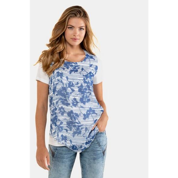 Gina Laura Shirtbluse, gemustertes Chiffontop, Jerseyshirt
