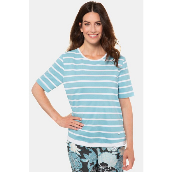 Gina Laura T-Shirt, Streifen, Saum-Bindeband, Piquéqualität