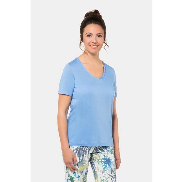Gina Laura T- Shirt, gedrehter V-Ausschnitt, hinten länger