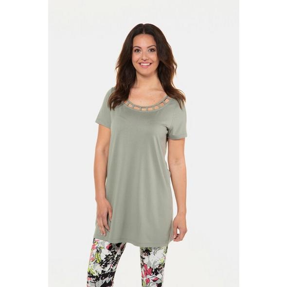 Gina Laura T-Shirt, verzierter Ausschnitt, A-Linie