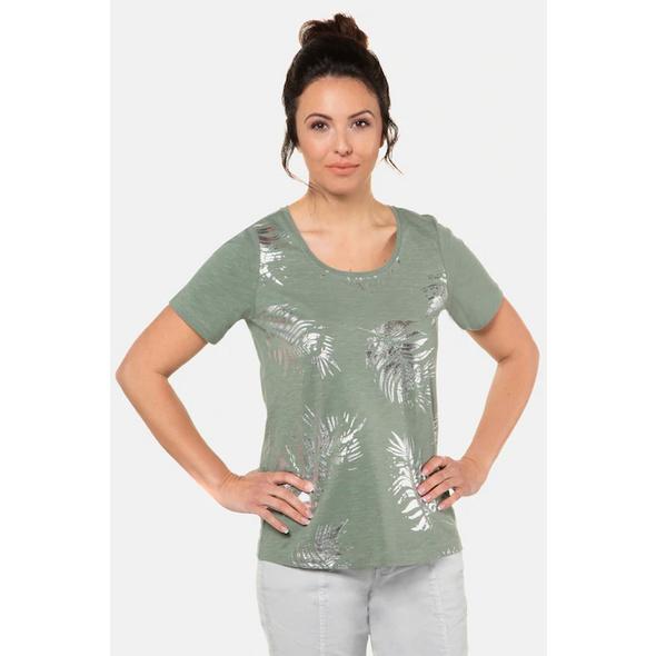 Gina Laura T-Shirt, glänzendes Blättermuster vorne, Halbarm