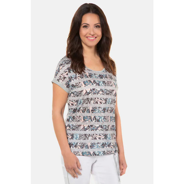 Gina Laura T-Shirt, Palmenmuster, Streifen, Rundhalsausschnitt