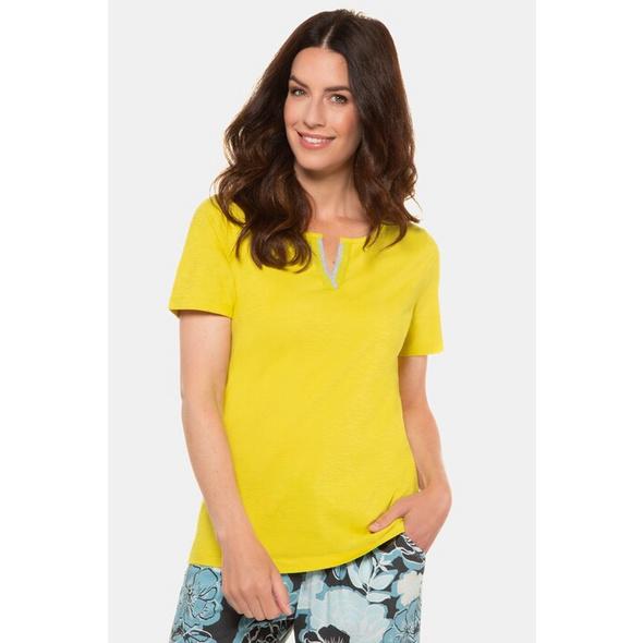 Gina Laura T-Shirt, verzierter Keilausschnitt, Flammjersey