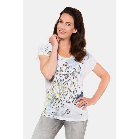 Gina Laura T-Shirt, Animaldruck, Schrift, farbige Nähte