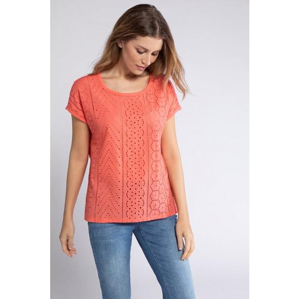 Gina Laura T-Shirt, Spitzen-Vorderseite, Oversized, Flammjersey