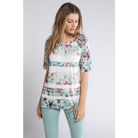 Gina Laura T-Shirt, Blütenstreifen, Carmenausschnitt, Saumband