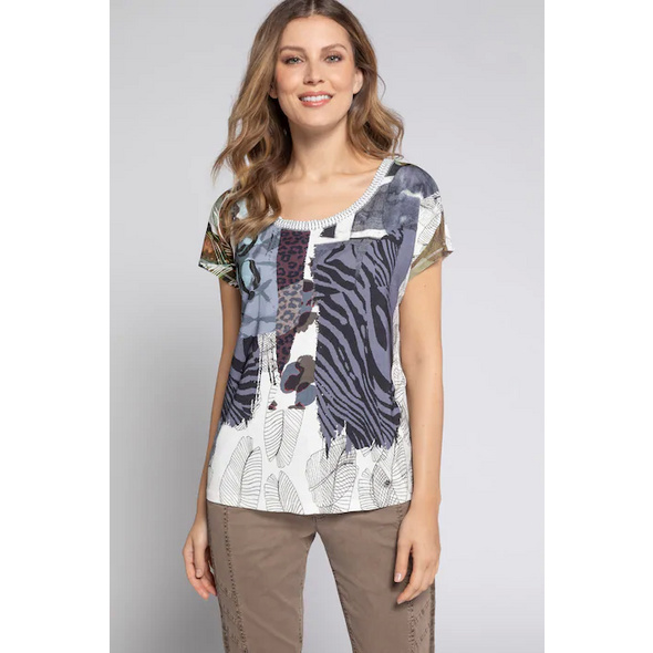 Gina Laura T-Shirt, Animal-Mustermix, Metallic-Ärmelnaht