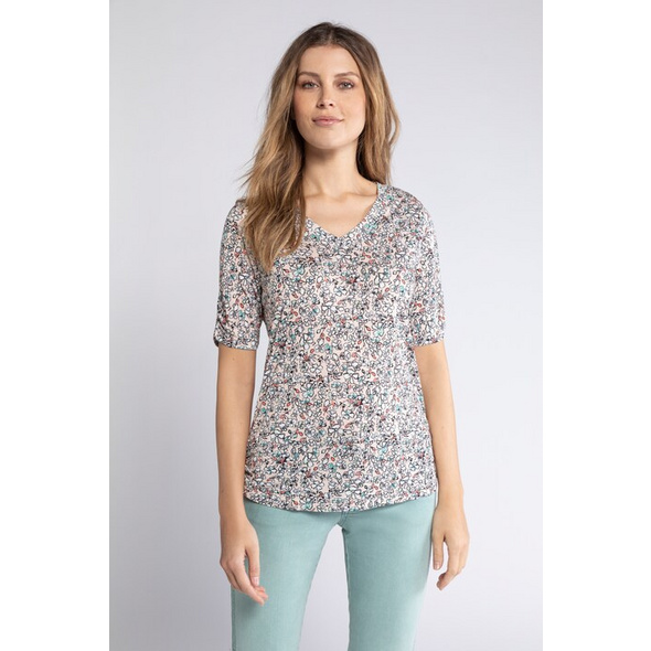Gina Laura T-Shirt, Blütenmuster, Raffungen, Viskose