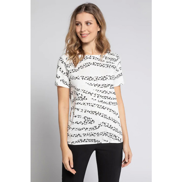 Gina Laura T-Shirt, Leomuster, U-Boot-Ausschnitt, Flammjersey