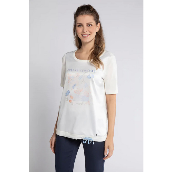 Gina Laura T-Shirt, Blütenmotiv, Saumband, Jersey-Rücken