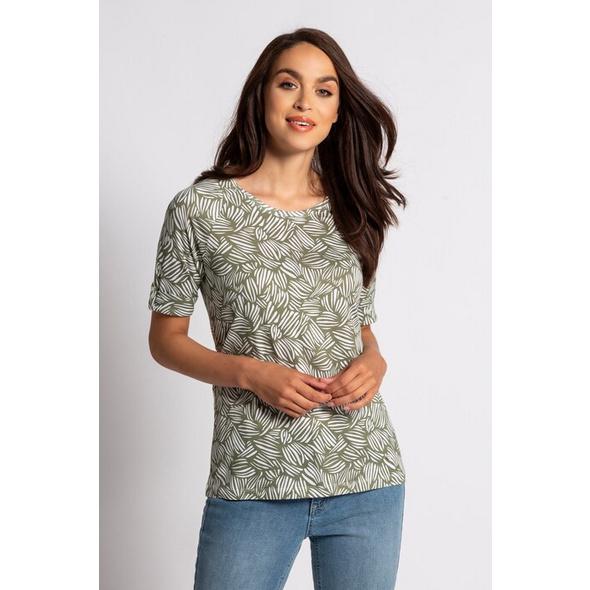 Gina Laura T-Shirt, Blattmuster, Raglanärmel, Biobaumwolle