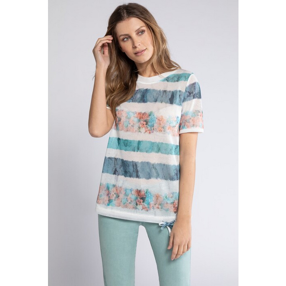 Gina Laura T-Shirt, Musterstreifen, Saumband, Cup-Ärmel