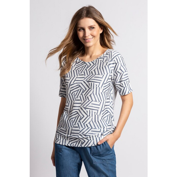 Gina Laura T-Shirt, grafisches Muster, Raglanärmel, Schmuckblenden