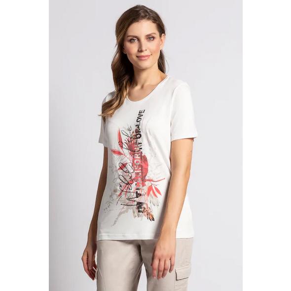 Gina Laura T-Shirt, Blütenmotiv, Ziersteine, Viskose-Jersey