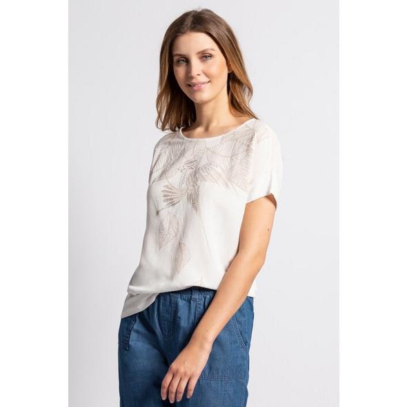 Gina Laura T-Shirt, Papagei, Blätter, Leinenmix-Jersey