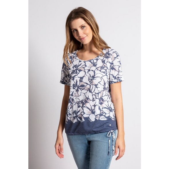 Gina Laura T-Shirt, Blütenmuster, Saum-Bindeband, Flammjersey