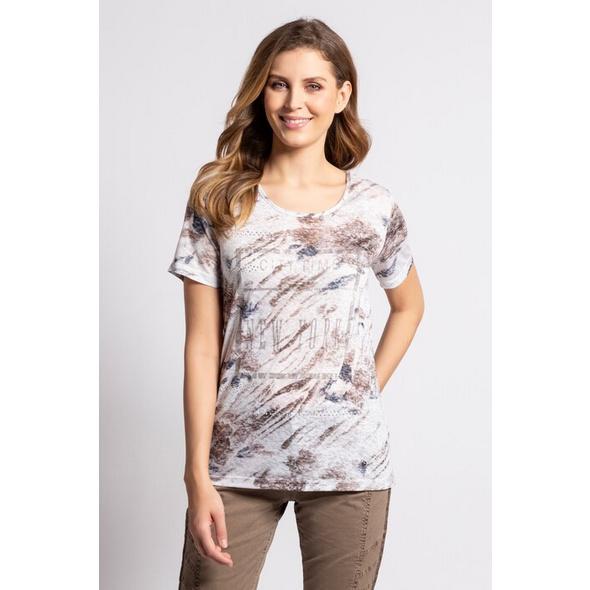 Gina Laura T-Shirt, Blütenmuster, oversized, Ausbrennerjersey