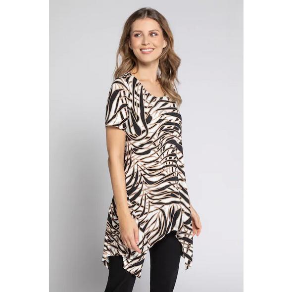 Gina Laura T-Shirt, Zipfelsaum, Viskose, Stretchkomfort