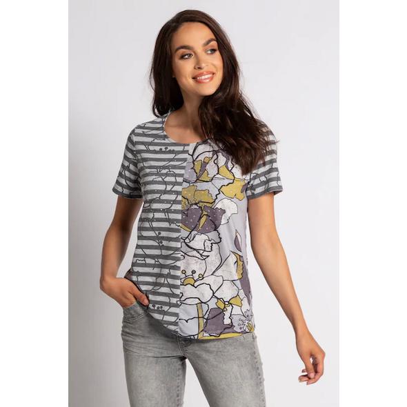 Gina Laura T-Shirt, gepatchtes Blütenmuster, Viskose
