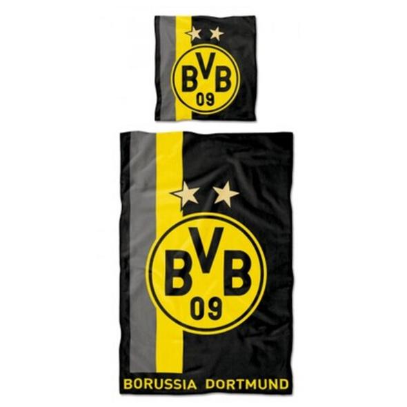 BVB 16802500 - BVB-Bettwäsche mit Streifenmuster 135 x 200 cm, Borussia Dortmund 09