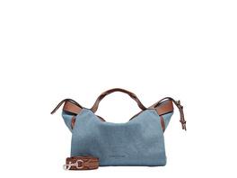 große Jeans Handtasche mit Applikationen aus Leder - Gray Denim Satchel L