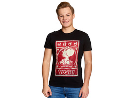 Super Mario - Yoshi Here We Go Poster T-Shirt schwarz