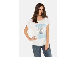 Gina Laura T-Shirt, unterlegte Chiffon-Vorderseite, Oversized