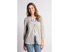Gina Laura Sweatjacke, cool dyed, feines Muster, 3/4-Arm