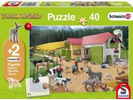 Schleich, Ein Tag auf dem Bauernhof (Kinderpuzzle) + 2 Figuren